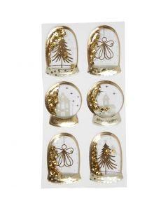 Shaker stickers, engel, træ og huse, str. 49x32+45x36 mm, guld, 6 stk./ 1 pk.