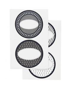 Stickers, diam. 4 cm, 9x14 cm, 4 ass. ark/ 1 pk.