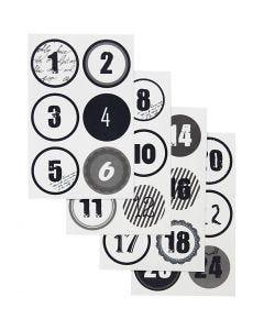 Kalendertal, diam. 4 cm, 9x14 cm, 4 ass. ark/ 1 pk.