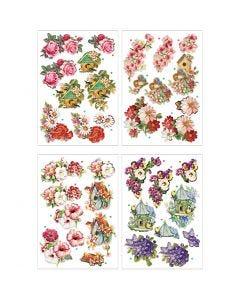 3D Motiver, blomster og fugle, 21x30 cm, 4 ark/ 1 pk.