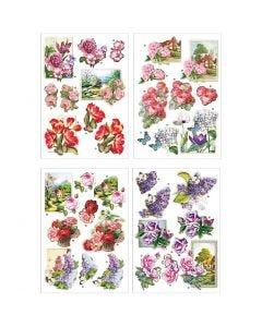 3D Motiver, blomster og sommerfugle, 21x30 cm, 4 ark/ 1 pk.