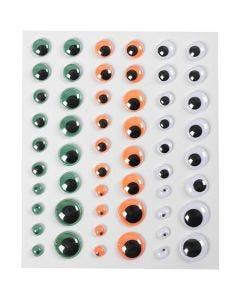 Rulleøjne, selvklæbende, diam. 6+8+10+12+15 mm, grøn, orange, hvid, 1 ark, 54 stk.