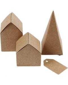 Udstansede huse og træer, H: 5,7-10 cm cm, 1 sæt