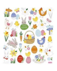 Stickers, påskemix, 15x16,5 cm, 1 ark