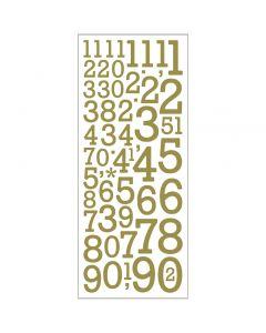 Glitterstickers, tal, 10x24 cm, guld, 2 ark/ 1 pk.