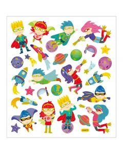 Stickers, superhelte, 15x16,5 cm, 1 ark