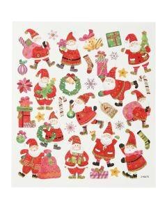 Stickers, julemand i hopla, 15x16,5 cm, 1 ark
