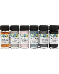 Magic Marble Marmoreringsmaling, douche farver, 6x20 ml/ 1 pk.