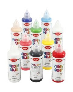 Viva Decor Window Color, ass. farver, 10x90 ml/ 1 pk.
