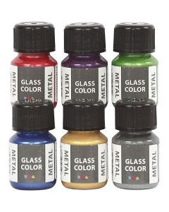 Glass Color Metal, ass. farver, 6x30 ml/ 1 pk.