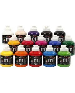 A-Color akrylmaling, blank, ass. farver, 15x500 ml/ 1 ks.