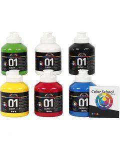 Skole akrylmaling blank, blank, primærfarver, 6x500 ml/ 1 pk.