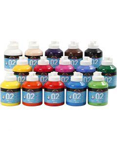 Skole akrylmaling mat, mat, ass. farver, 15x500 ml/ 1 ks.