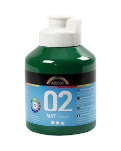 Skole akrylmaling mat, mat, mørk grøn, 500 ml/ 1 fl.