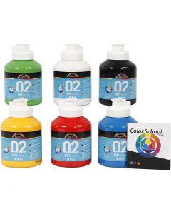 Skole akrylmaling mat, mat, primærfarver, 6x500 ml/ 1 pk.