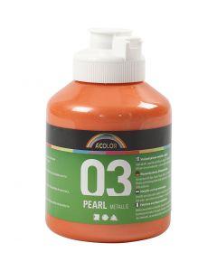 Skole akrylmaling metallic, metallic, orange, 500 ml/ 1 fl.