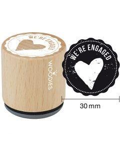 Træstempel, We're engaged, H: 35 mm, diam. 30 mm, 1 stk.