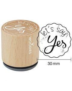 Træstempel, let's say Yes, H: 35 mm, diam. 30 mm, 1 stk.