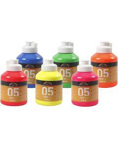 Skole akrylmaling neon, neonfarver, 6x500 ml/ 1 ks.