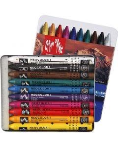 Neocolor I, L: 10 cm, tykkelse 8 mm, ass. farver, 10 stk./ 1 pk.
