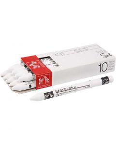 Neocolor II, L: 10 cm, white (001), 10 stk./ 1 pk.