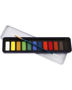 Akvarelsæt, str. 12x30 mm, 12 frv./ 1 pk.