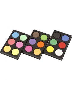 Vandfarve, H: 16 mm, diam. 44 mm, primær rød, neonfarver, suppleringsfarver, 1 sæt