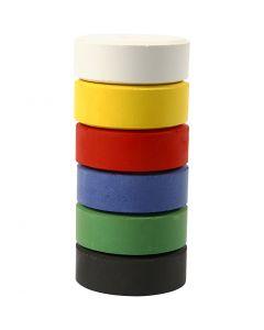 Vandfarve, H: 16 mm, diam. 44 mm, primærfarver, 6 stk./ 1 pk.