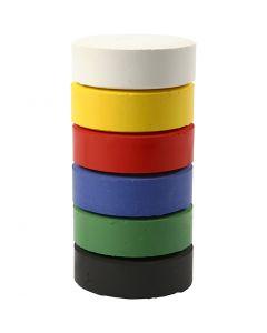 Vandfarve, H: 19 mm, diam. 57 mm, primærfarver, 6 stk./ 1 pk.