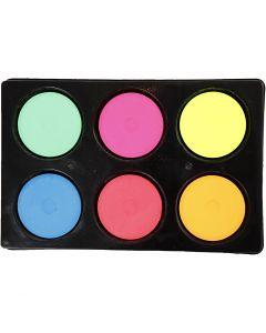 Vandfarve, H: 16 mm, diam. 44 mm, neonfarver, 1 sæt