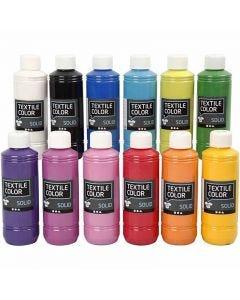 Textile Solid, dækkende, ass. farver, 12x250 ml/ 1 pk.