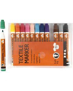 Tekstiltusch, streg 2-4 mm, ass. farver, 12 stk./ 1 pk.