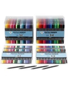 Tekstiltusch, streg 2,3+3,6 mm, standardfarver, suppleringsfarver, 24x20 stk./ 1 pk.