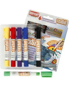 Playcolor Tekstilfarver, L: 14 cm, ass. farver, 6 stk./ 1 pk., 5 g