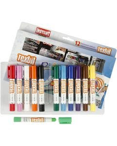 Playcolor Tekstilfarver, L: 14 cm, ass. farver, 12 stk./ 1 pk.