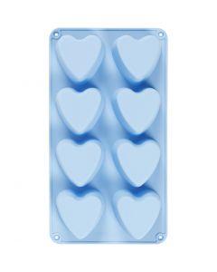 Silikoneform, hjerter, H: 3,5 cm, L: 35 cm, B: 21 cm, hulstr. 70x60 mm, 100 ml, 1 stk.