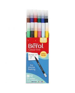 Berol Colourfine tusch, diam. 10 mm, streg 0,3-0,7 mm, ass. farver, 12 stk./ 1 pk.