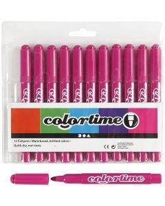 Colortime Tusch, streg 5 mm, rosa, 12 stk./ 1 pk.