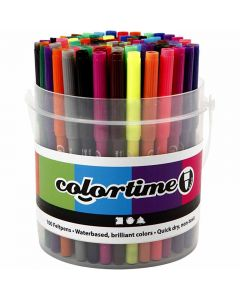 Colortime Tusch, streg 2 mm, ass. farver, 100 stk./ 1 spand