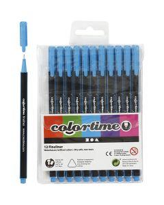 Colortime Fineliner Tusch, streg 0,6-0,7 mm, lyseblå, 12 stk./ 1 pk.