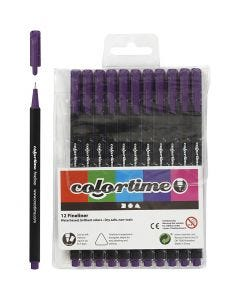 Colortime Fineliner Tusch, streg 0,6-0,7 mm, lilla, 12 stk./ 1 pk.