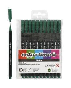 Colortime Fineliner Tusch, streg 0,6-0,7 mm, mørk grøn, 12 stk./ 1 pk.