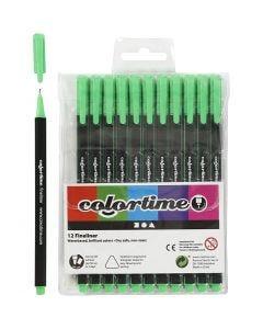 Colortime Fineliner Tusch, streg 0,6-0,7 mm, lys grøn, 12 stk./ 1 pk.