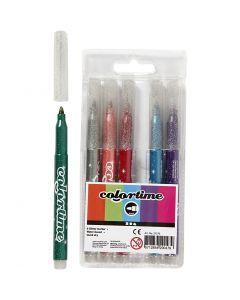 Colortime glittertusch, streg 4,2 mm, ass. farver, 6 stk./ 1 pk.