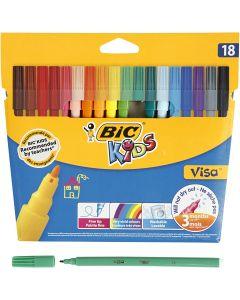 Visa Fin tusch, streg 1,6 mm, ass. farver, 18 stk./ 1 pk.