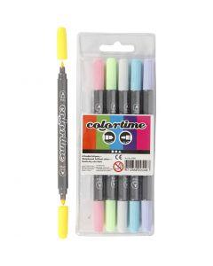 Colortime dobbelttusch, streg 2,3+3,6 mm, pastelfarver, 6 stk./ 1 pk.