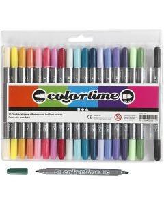 Colortime dobbelttusch, streg 2,3+3,6 mm, suppleringsfarver, 20 stk./ 1 pk.