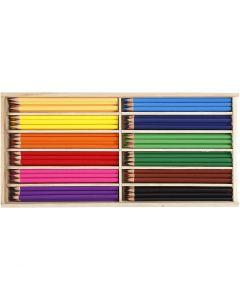 Farveblyanter, mine 3 mm, ass. farver, 144 stk./ 1 pk.