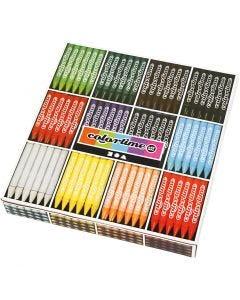 Colortime farvekridt, L: 10 cm, tykkelse 11 mm, ass. farver, 12x24 stk./ 1 pk.
