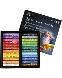 Gallery oliepastel premium, L: 7 cm, tykkelse 10 mm, ass. farver, 24 stk./ 1 pk.